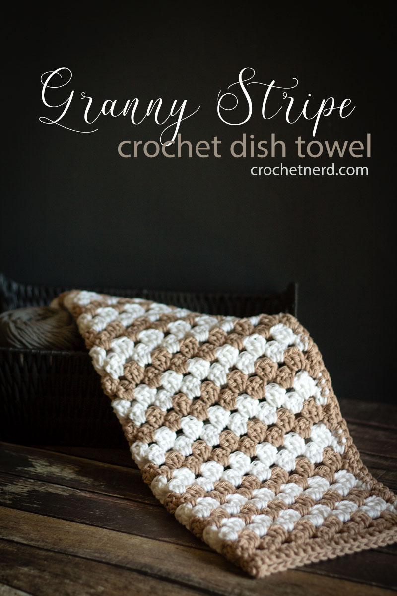 Simple Granny Stripe Crochet Dish Towel Free Pattern